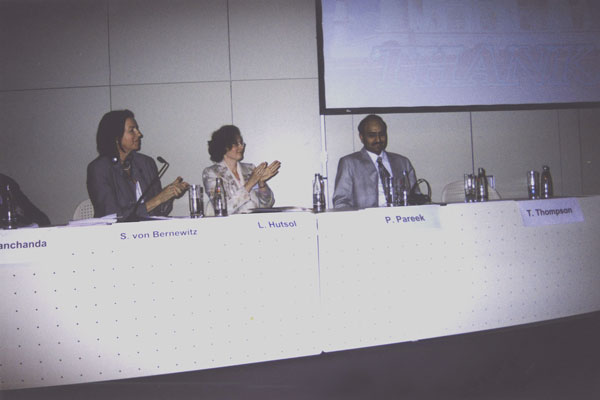 Доктор Л. Гуцол (Украина) и коллеги-сопредседатели рабочего заседания в Берлине (2005)